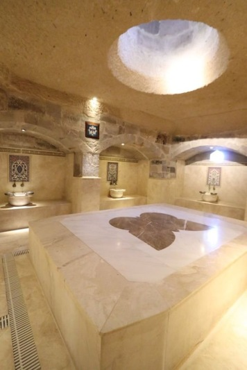 The heated marble slab is where you lay for your hammam.