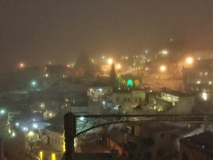 The view after the hammam showed a cold steamy, snowy town.