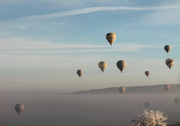 That morning, it looked like hundreds of balloons taking flight through the mist.