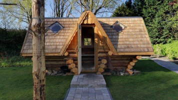 The heksensauna is themed after Hansel and Gretel